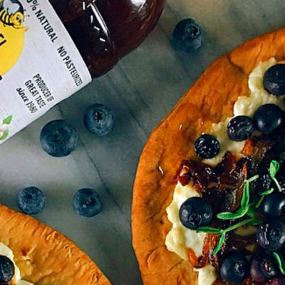 Blueberry, Feta and Honey-caramelized oinion Flatbread